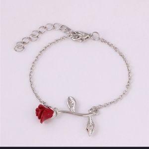 NWT Silver Goth Boho Red Rose Bracelet!